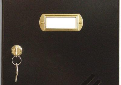 Buzón metalico vertical de interior de ferpasa. Cuerpo y puerta de color negro. El mas vendido en Valencia
