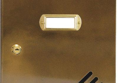 Buzón metalico vertical de interior de ferpasa. Puerta de color bronce doble lacado. El mas vendido en Valencia