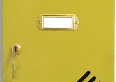 Buzón metalico vertical de interior de ferpasa. Puerta de color oro. El mas vendido en Valencia