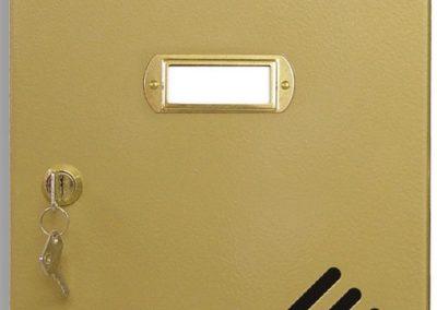 Buzón metalico vertical de interior de ferpasa. Puerta de color oro doble lacado. El mas vendido en Valencia