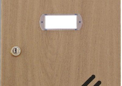 Buzón metalico vertical de interior de ferpasa. Puerta decoración nogal. El mas vendido en Valencia