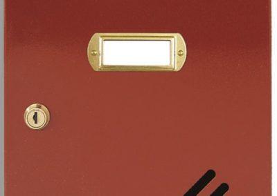 Buzón metalico vertical de interior de ferpasa. Puerta de color rojo inglés. El mas vendido en Valencia