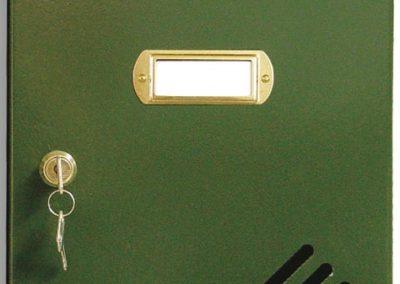 Buzón metalico vertical de interior de ferpasa. Puerta de color verde. El mas vendido en Valencia